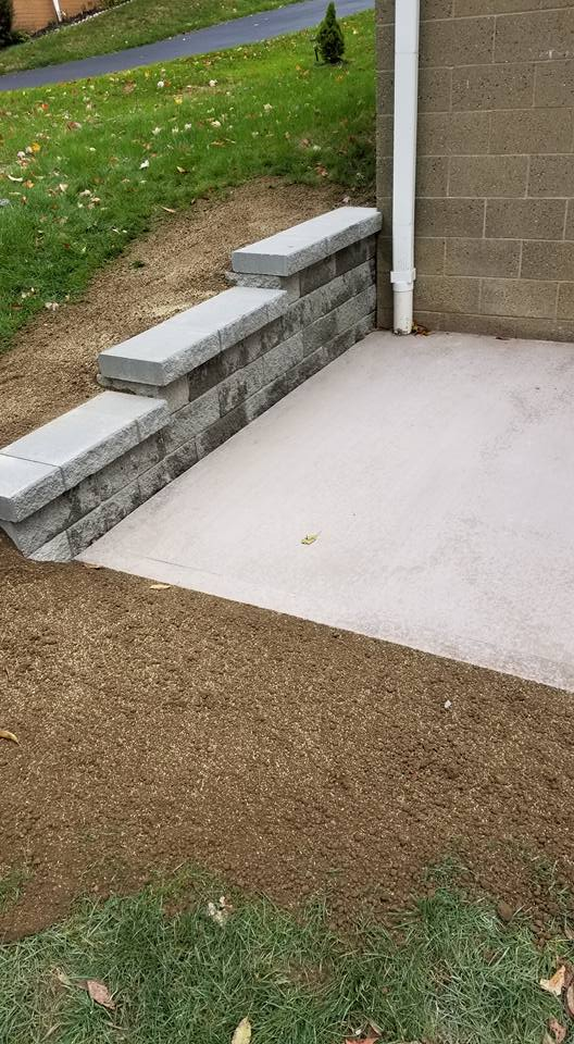 Retaining Wall With Cement Pad Jwb Construction